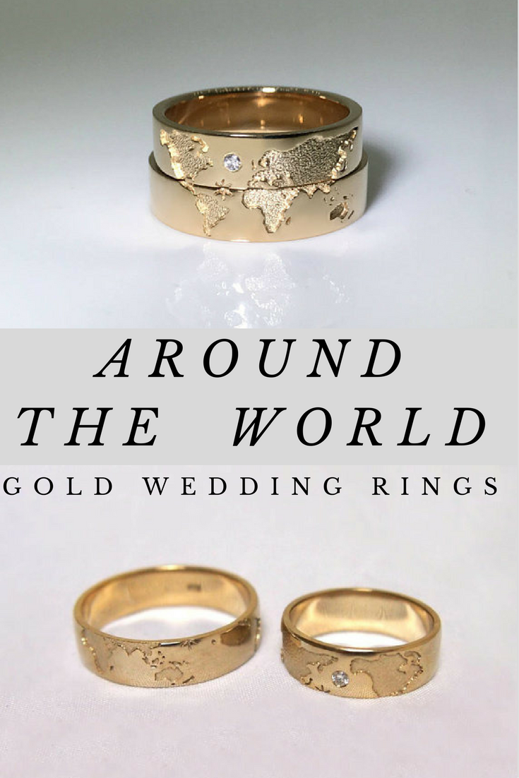 Beautifully Detailed World Map Matching His Hers Wedding Bands