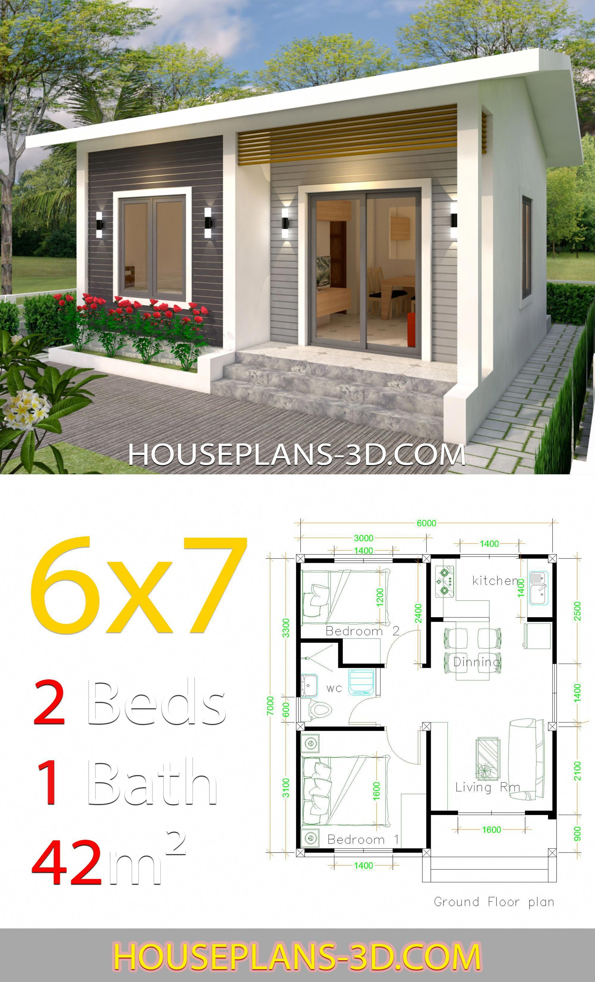 House Design 6x7 With 2 Bedrooms House Plans 3d Singlewill Wills Willsforsingles Willsforwomen Willsformen Willsforsin Di 2020 Rumah Indah Rumah Pedesaan Arsitektur