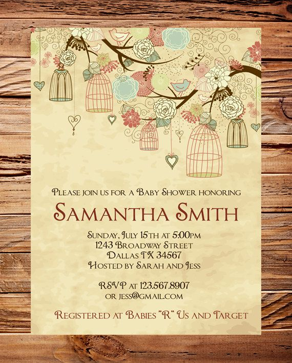 Vintage Baby Shower Invitation Vintage Birdcages Baby Shower