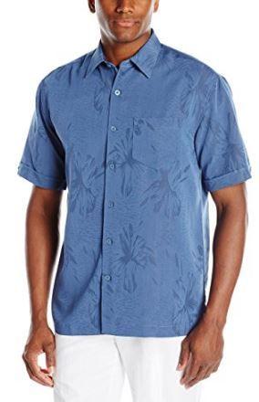 b587479f74 Floral jacquard beach wedding blue shirt