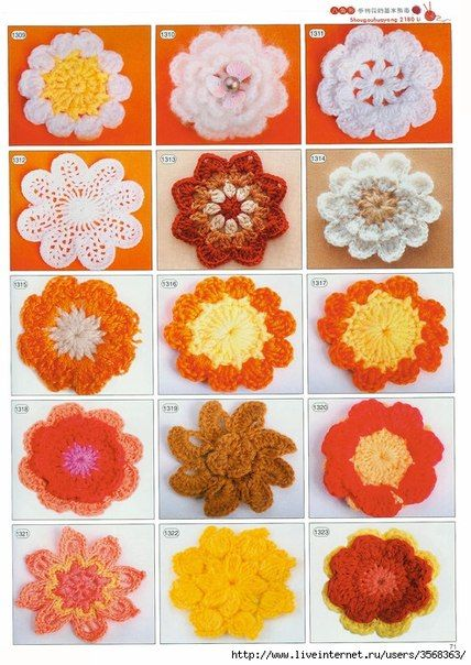 Crocheted flowers pattern galore
