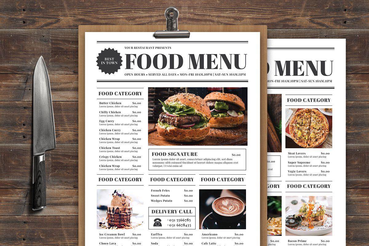 Newspaper Food Menu Food Menu Food Menu