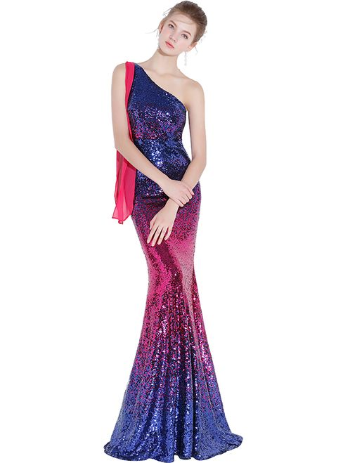 d3a900933e1 In Stock Ship in 48 hours Last Minute Mermaid One Shoulder Sequins ...