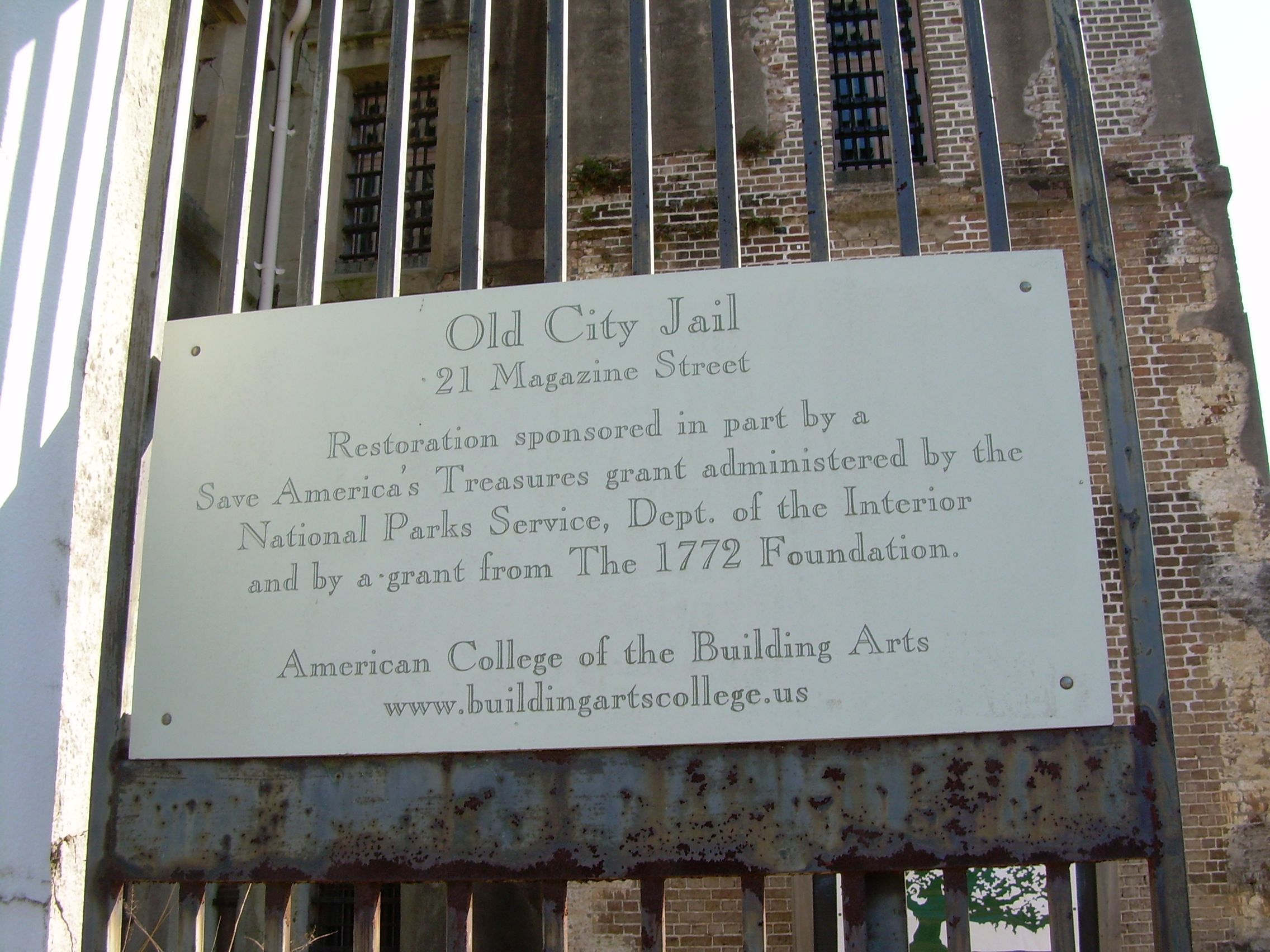 Historic marker old charleston jail jail american