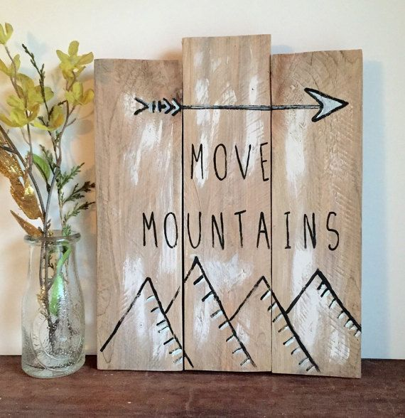 Reclaimed Wood, Reclaimed Wood Wall Art, Galley Wall Art, MOVE MOUNTAINS, Gallery Wall Piece, Mountain Art, Reclaimed Wood, Rustic Decor