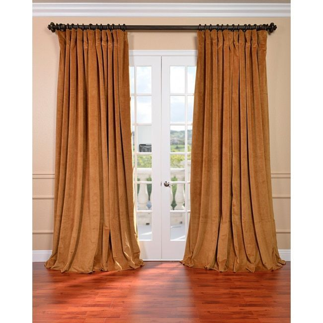 Exclusive Fabrics Amber Gold Velvet Blackout Extra Wide Curtain Panel 120 Inch Size 100 X Cotton Solid