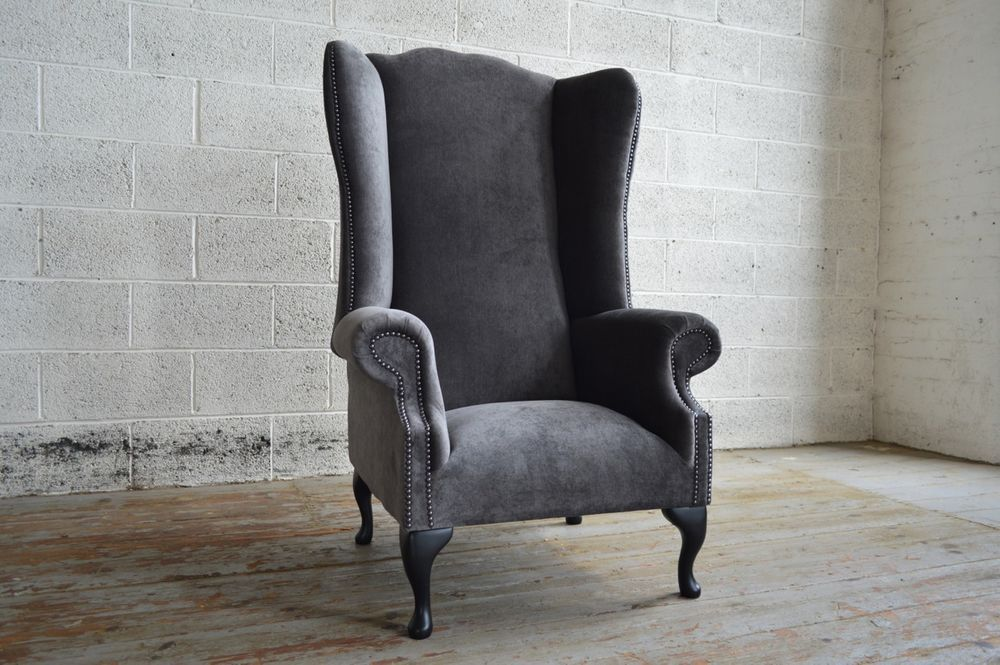 Modern Queen Anne Chesterfield Wing Arm Chair Extra High Back Slate Grey Velvet Wing Chair Winged Armchair Velvet Wingback Chair