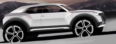 biroandclay:  Audi Q1 - production confirmed. To fit in the nice niche of Premium Compact Sports Utility Inner City Vehicle. On a more interesting note, check out the new styling intent… Angular surfaces giving a much more product feel. The future of Audi Design?