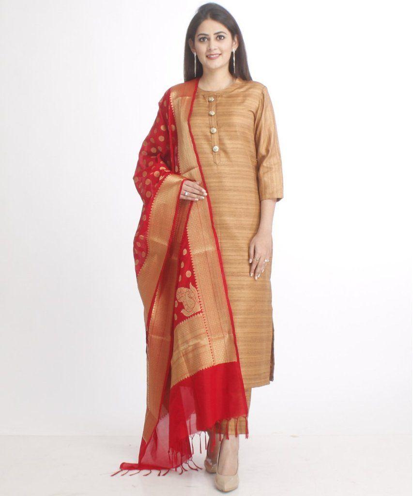 1e2cb19140 Gold Kundan Silk Kurti with Straight Pants and Red Banarsi Dupatta ...