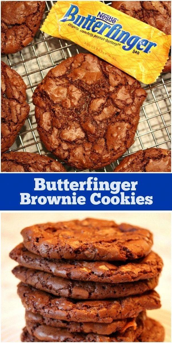 Butterfinger Brownie Cookies recipe from  via @recipegirl