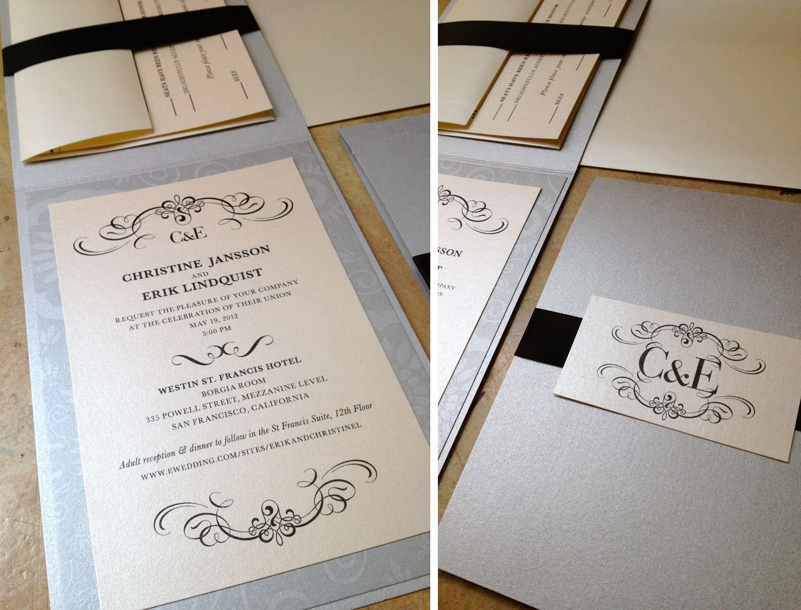custom wedding invitations] vertical folded card + ribbon sash | Diy ...