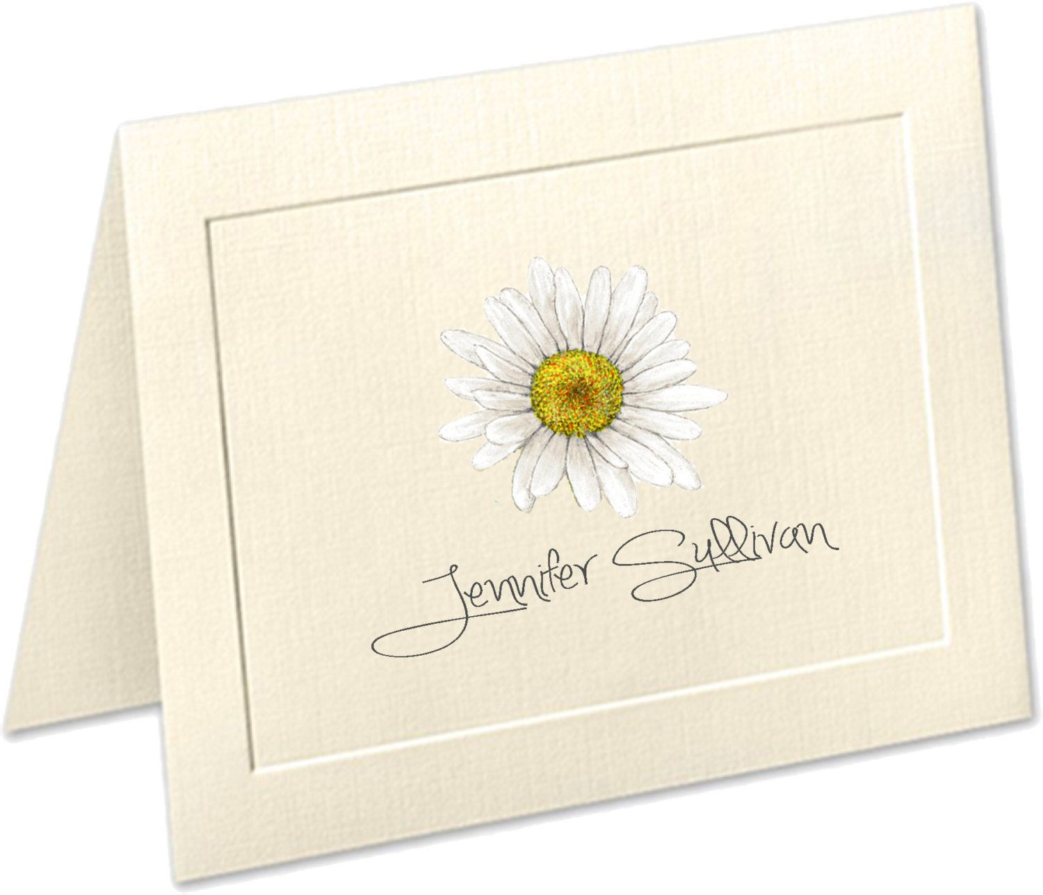 daisy embossed panel linen finish personalized folded note cards stationery birthday present present teacher gift thank you cards flower by - Custom Folded Note Cards