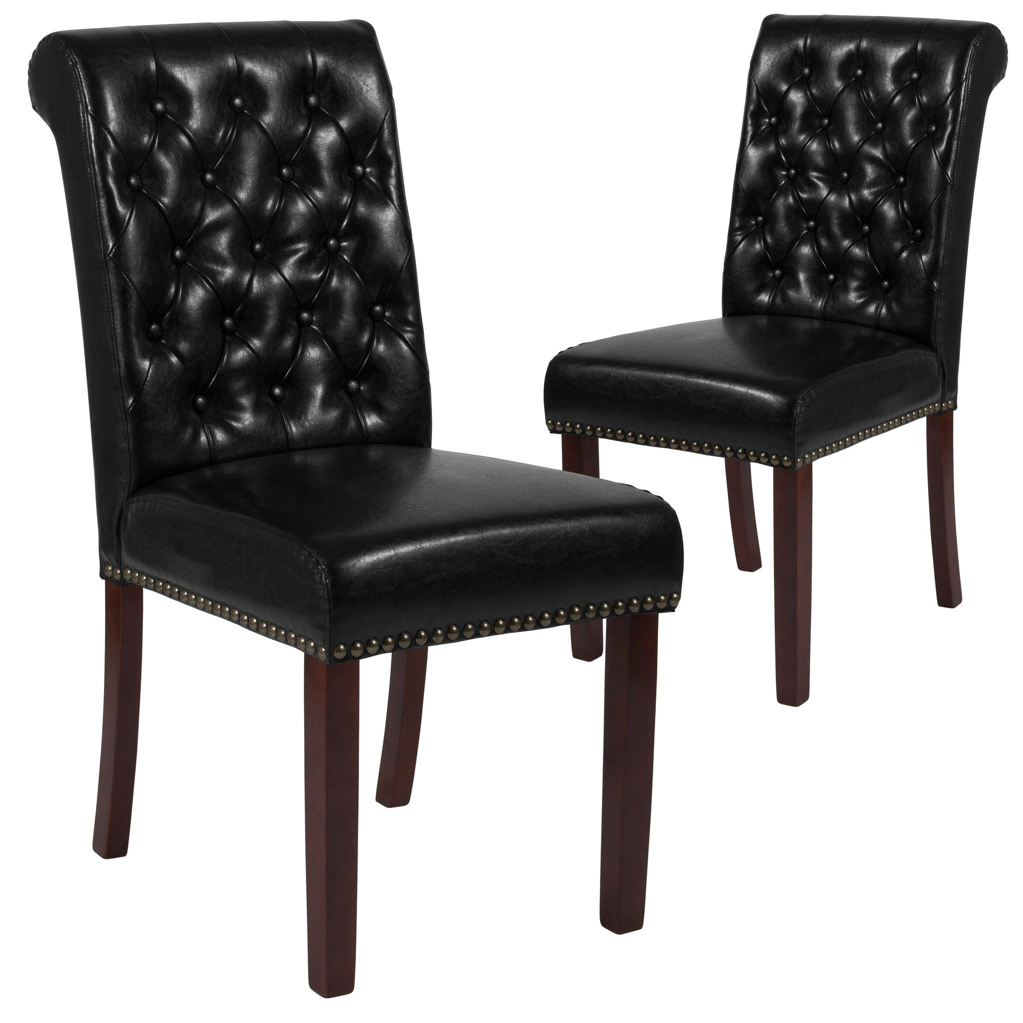black leather tufted chair