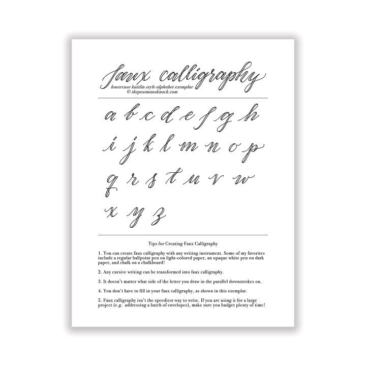 Free Basic Faux Calligraphy Exemplar Kaitlin Style The Postman S Knock Faux Calligraphy How To Write Calligraphy Lettering Practice