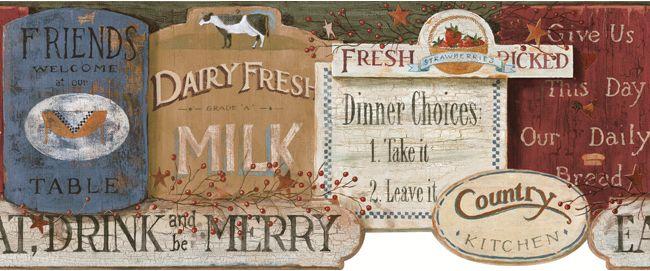 Pin By Yuliya Brona On Wordings Country Kitchen Kitchen Signs Wallpaper Border