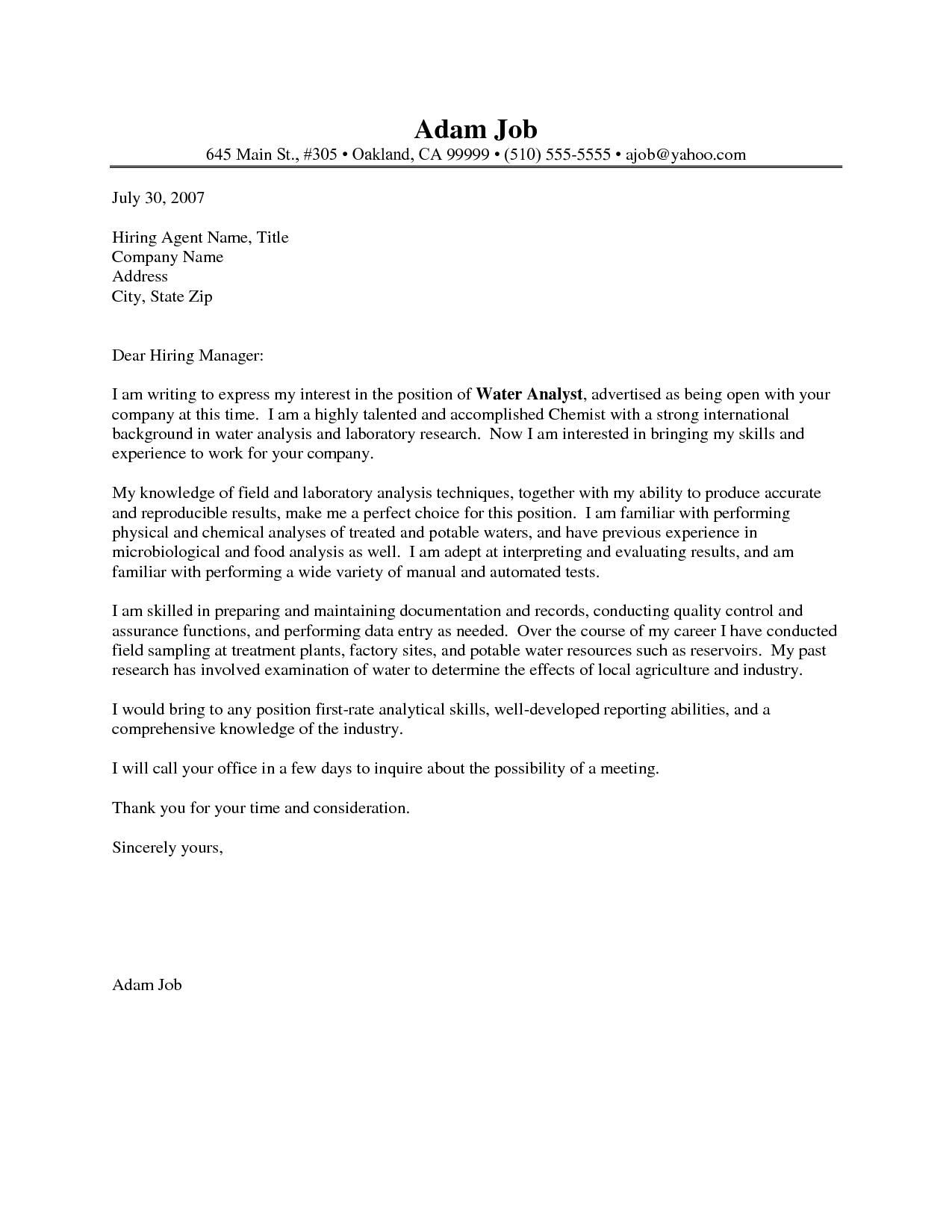 Chemist Cover Letter Sample Resume Chemistry Letters Crime Lab Technician Company Representative Chemistry Letters Chemistry Cover Letter Sample