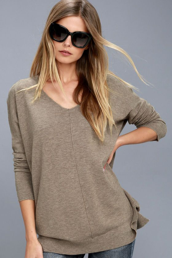 Feel the Magic Heather Light Brown V-Neck Sweater Top | Light ...