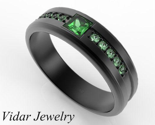 Princess Cut Emerald Black Gold Wedding Band For By Vidarjewelry 1800 00