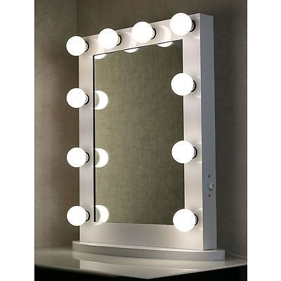 White Hollywood Makeup Vanity Mirror With Light Stage