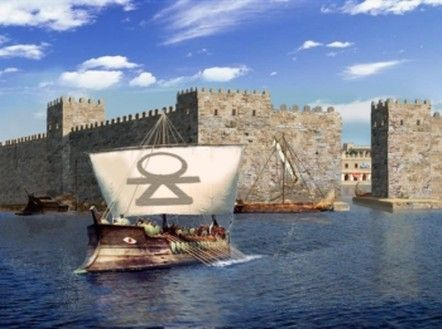 Reconstruction of Cothon access of Mozia, ancient Phoenician colony off Sicily.