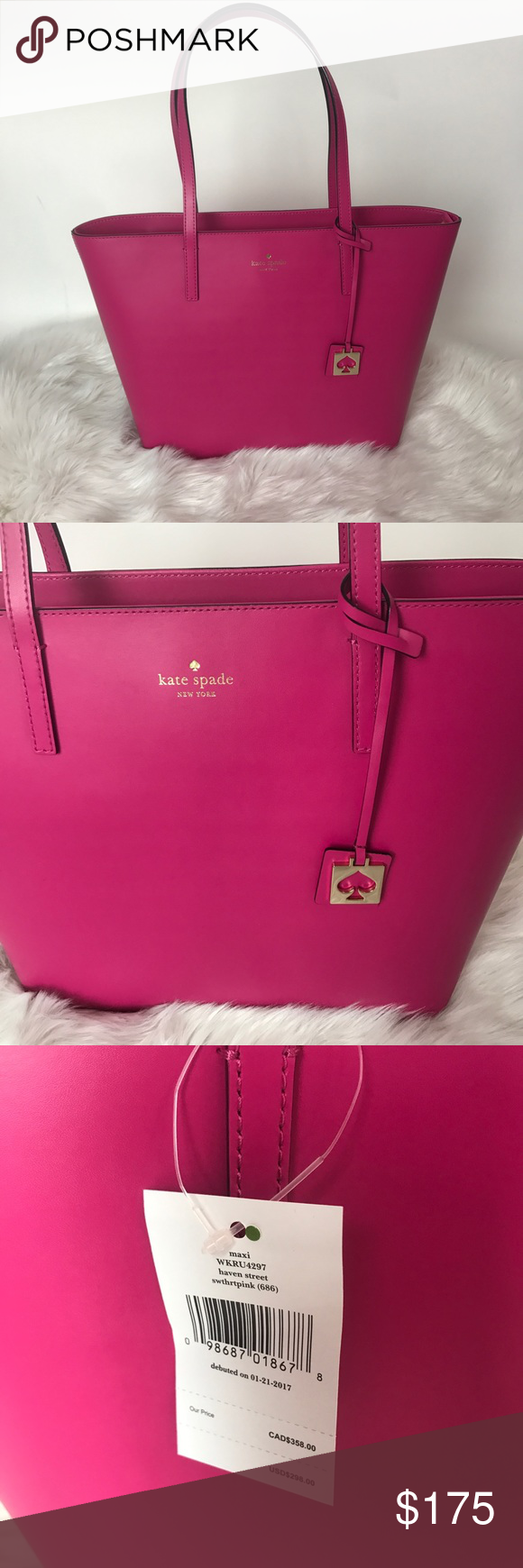 Kate Spade Maxi Haven Street Sweetheart Pink Bag This listing is for a Kate Spade Maxi Haven Street Sweetheart Pink Tote Bag.  This bag measures 11.7 (h) x 12.9 (w) x 5.5 (d).  Bag has a smooth leather finish with matching trim and 14k gold hardware.  Zip top closure with 2 interior pockets and interior zip pocket.  Kate Spade signature lining in pink. kate spade Bags Totes