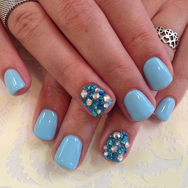 Baby Blue Nails With Blue Amp White Rhinestones Polish