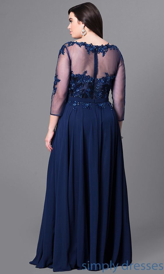 Long Plus Size Prom Dress With Beaded Lace And Sleeves Vestidos