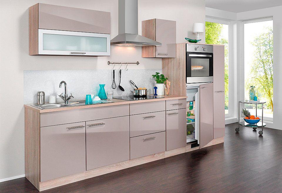 Wiho Küchen Küchenzeile mit E-Geräten »Montana Glanz, Breite 290 - küchenblock 270 cm