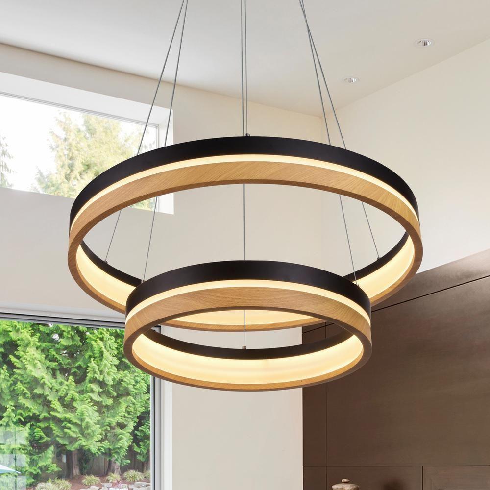 Vonn Lighting Silva 78 Watt Integrated Led Plated Black Wood
