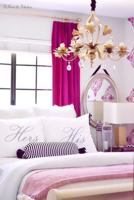 glamorous white gray master bedroom   His and Hers glamorous Fall bedroom decor with cranberry ...