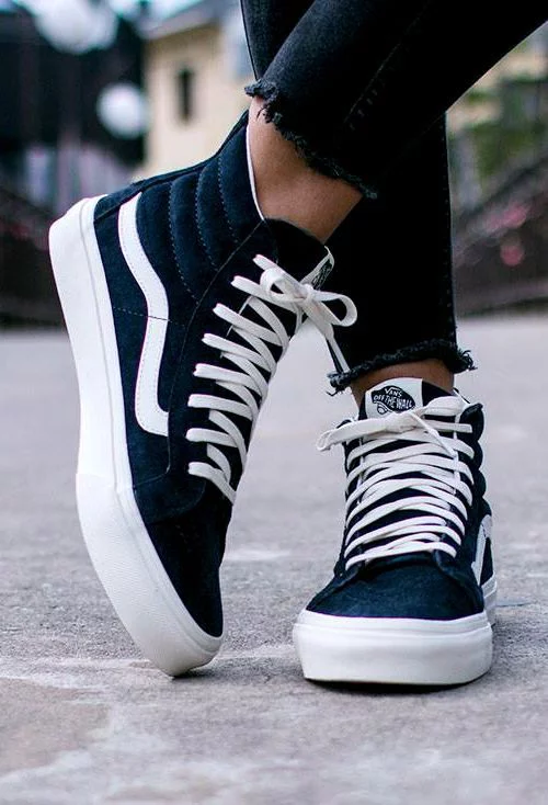 268e78426e3 Black and white Vans high tops. Not Yours. — vans  Blue suede shoes. The  Scotchgard Sk8-Hi.