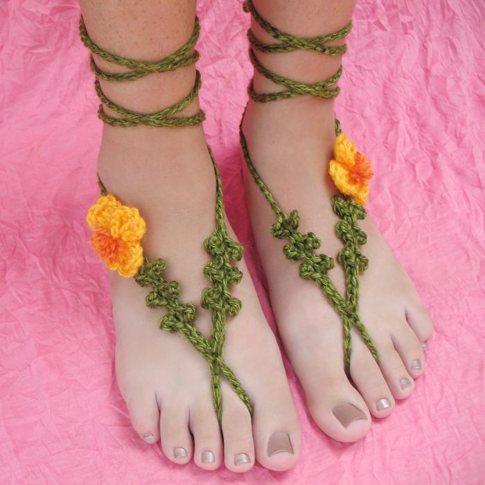 New Crochet Pattern: Poppy Barefoot Sandals | Gleeful Things ...