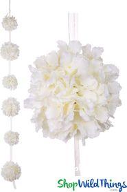 Flower Ball Garland Hanging Silk Hydrangea Kissing Balls On Ribbon 4 1 2 Ivory Flower Ball Silk Hydrangeas Artificial Garland
