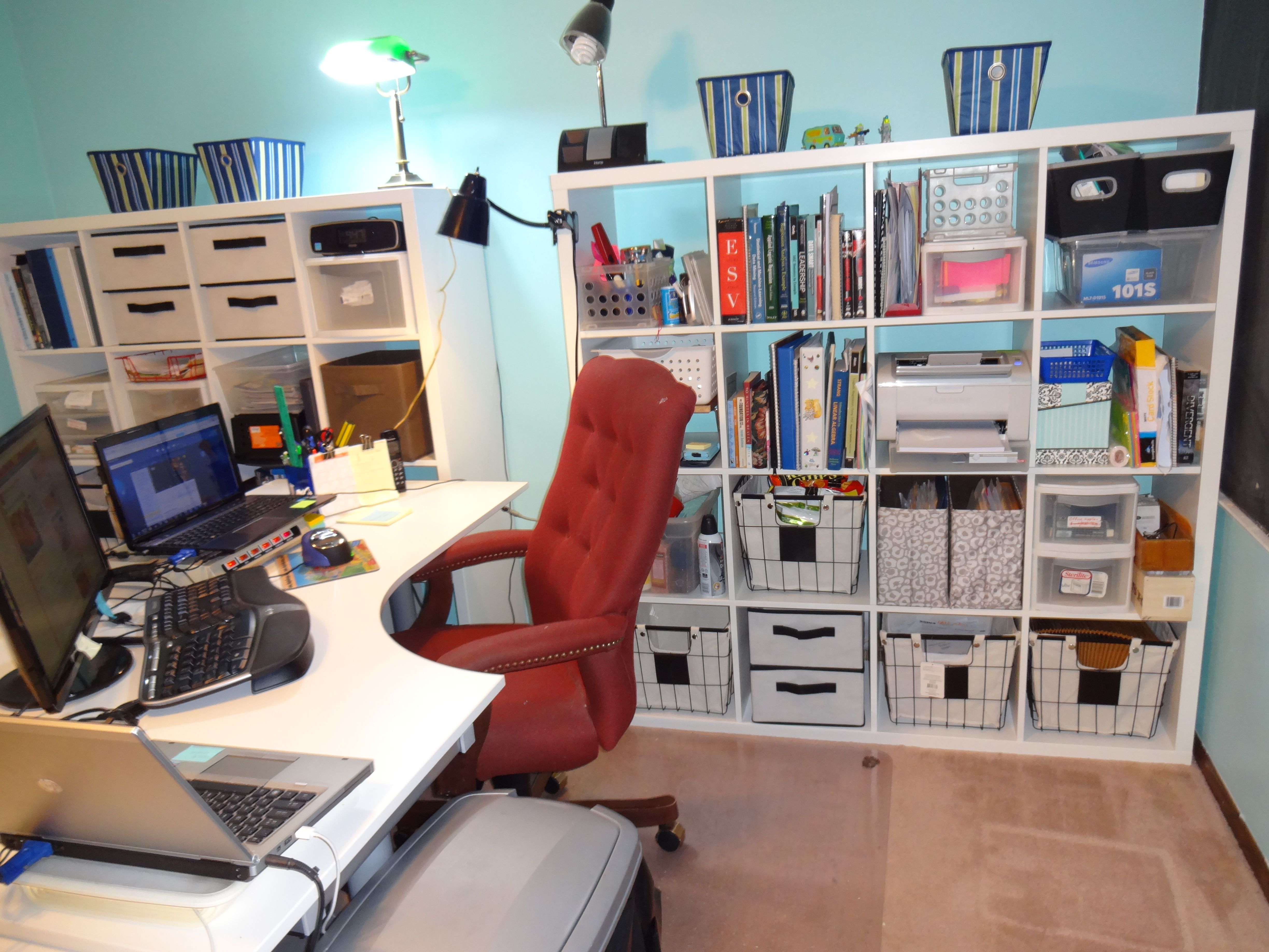 Ikea Home Office Galant new kallax shelves and a galant desk from ikea. wire baskets from