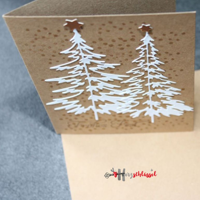 Herzschlüssel: Es schneit .................., Weihnachtskarten, #DIY, Silhouette, Cameo, Hobbyplotter, Stampin Up, Big Shot, Sizzix