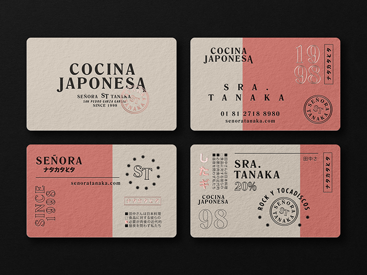 The Hungry Design Co. designed these business cards for a Japanese restaurant named Señora Tanaka.