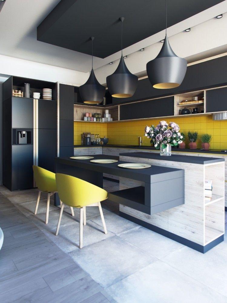 îlot central design avec éclairage style industriel cuisine moderne