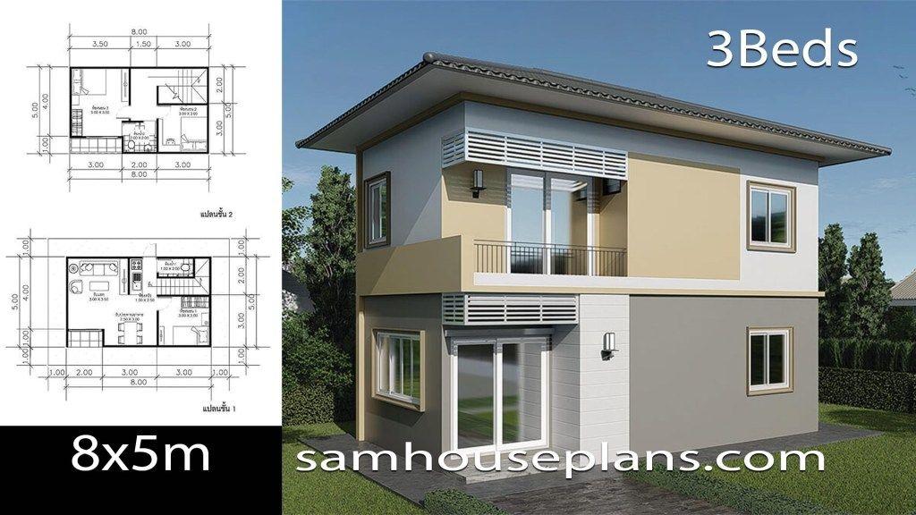 House Plans Idea 8x5m With 3 Bedrooms Sam House Plans House Plans Small House Design Plans House Layout Plans
