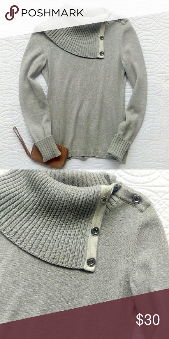 Classy Banana Republic Button Cowl Neck Sweater