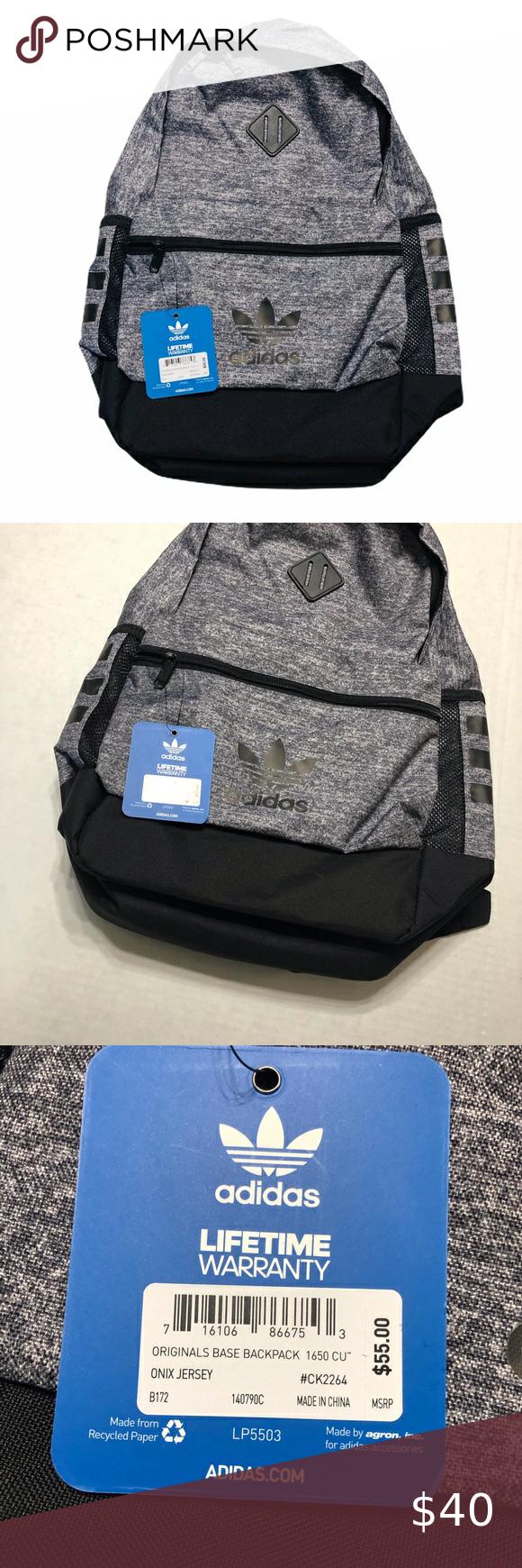 NWT Adidas Originals Base Backpack - Onix Jersey | Black backpack ...