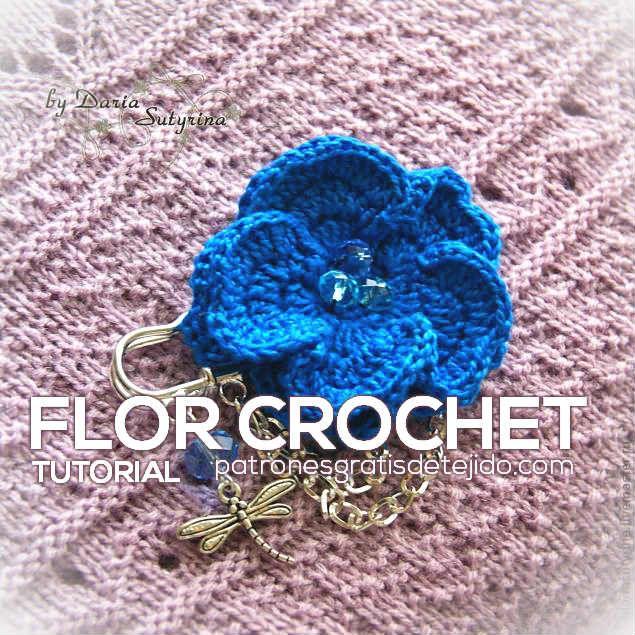 Aprende a tejer una bonita flor de 2 capas de pétalos para usar como ...