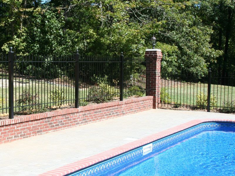 Pin By Iron Fence Shop On Diy Yard Fence Projects Pool Fence Fence Around Pool Brick Fence