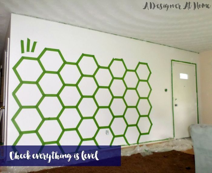 How To Tape Paint Hexagon Patterned Wall Wall Patterns Wall Paint Designs Hexagon Pattern