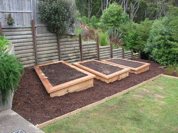 Veg Beds Constructed Using 200x100 Macrocarpa Sleepers.