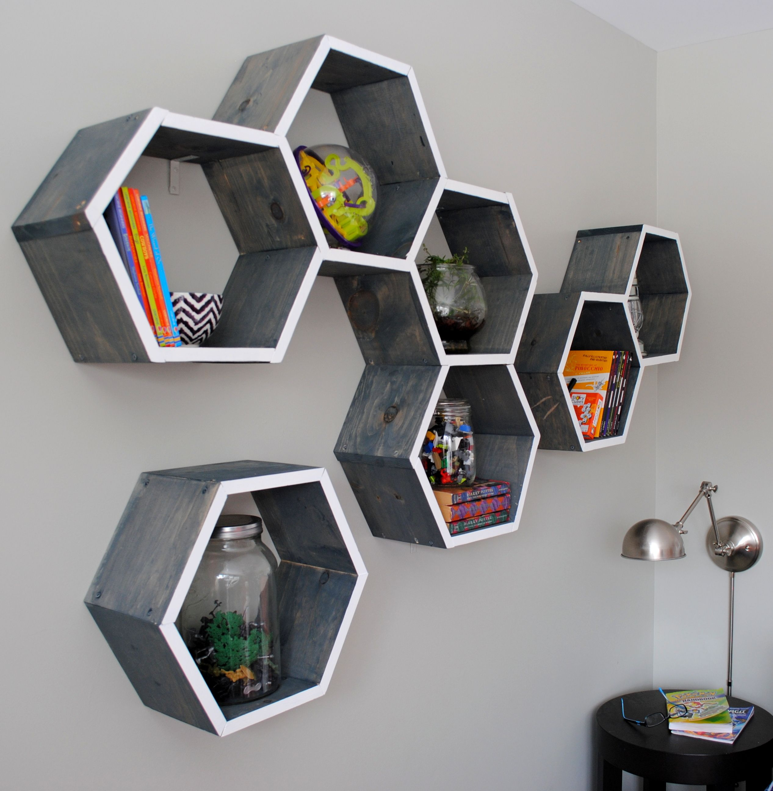 of shelves marvelous on cozy decoration pinterest set best idea modern hexagon bookshelf honeycomb ideas chic