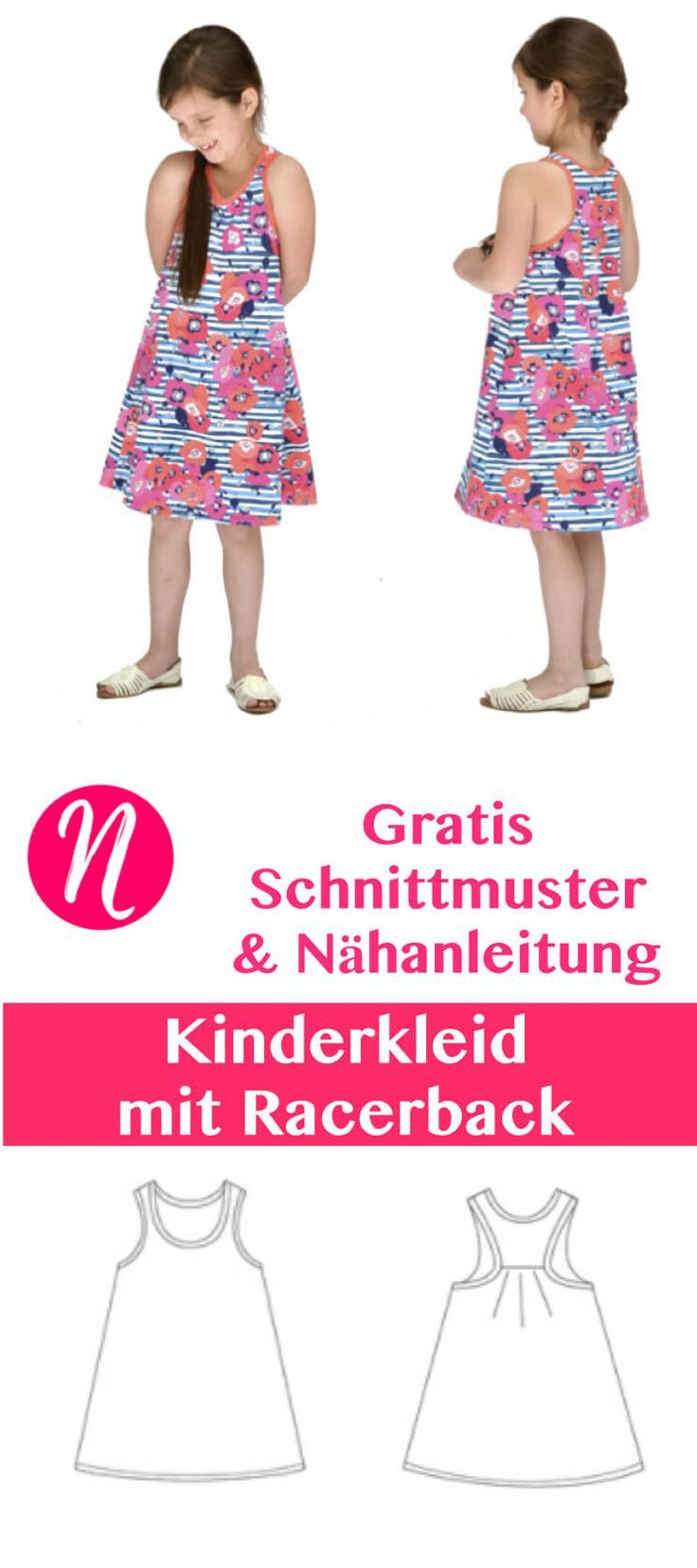 Jersey-Kinderkleid mit Racerback - Freebook | Sewing projects ...