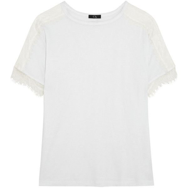 CLU Lace-paneled Tencel and wool-blend jersey T-shirt (£180) ❤ liked on Polyvore featuring tops, lace insert top, tencel tops, white top, clu and jersey top