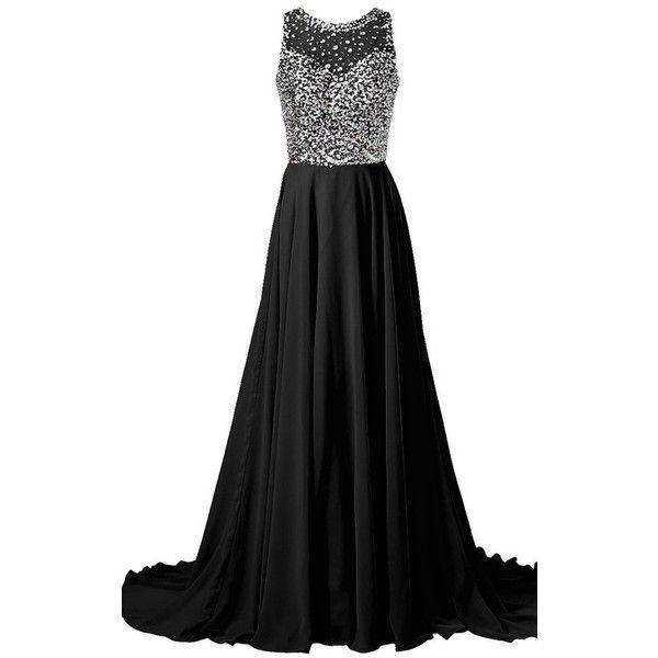 Black A Line Scoop Neck Chiffon Sweep Train Crystal Long Prom Dress (€120)