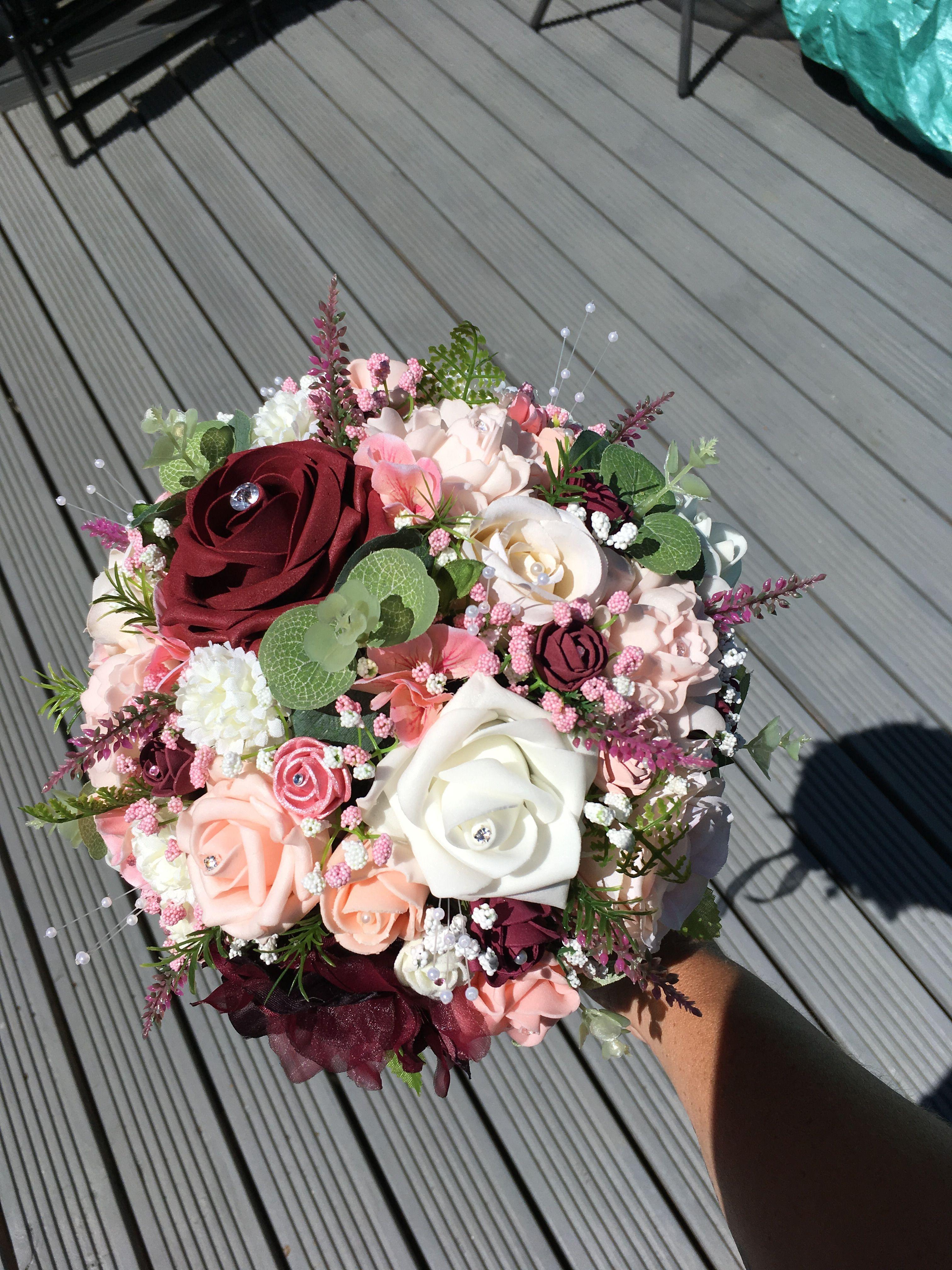 Burgundy Wine Peach Baby Pink Wedding Bouquet Flwrs Pinterest