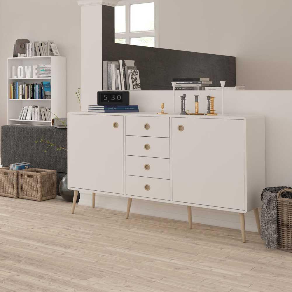 Wohnzimmer Sideboard im Retro Style Weiß Eiche sideboard ...